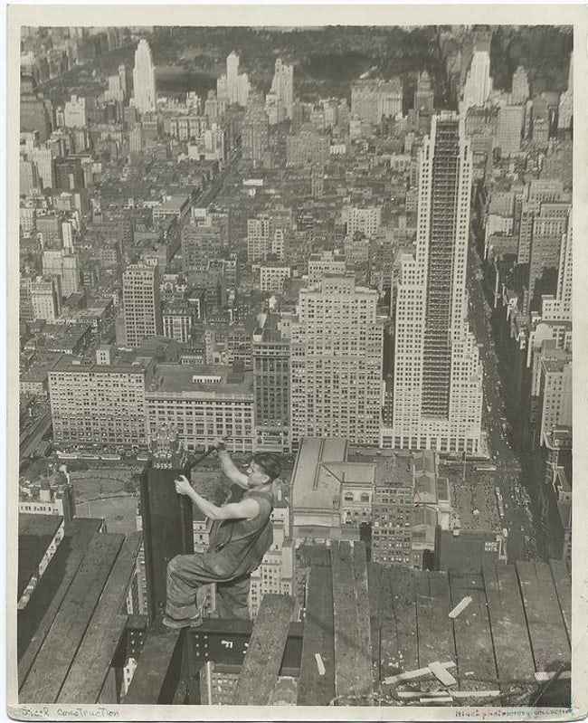 A Worker At The Edge Of A Platform, Looking North Empire State Building Workers Photo