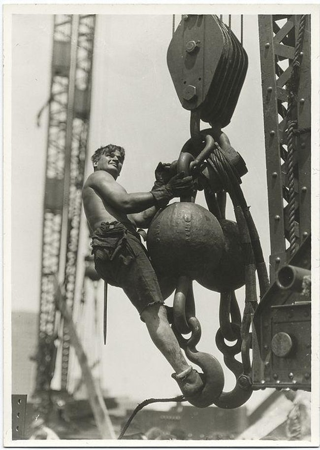 A Worker Riding On A Crane Hook Famous Empire State Building Workers Photo