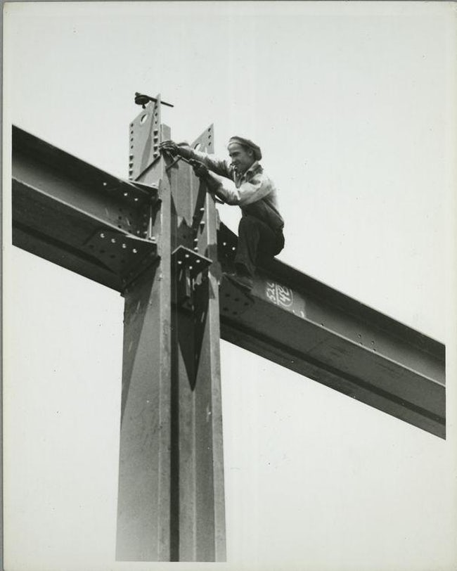 Plumbing Up A Column Famous Empire State Building Workers Photo