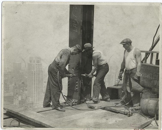 Three Workers Securing A Rivet Empire State Building Workers Photo