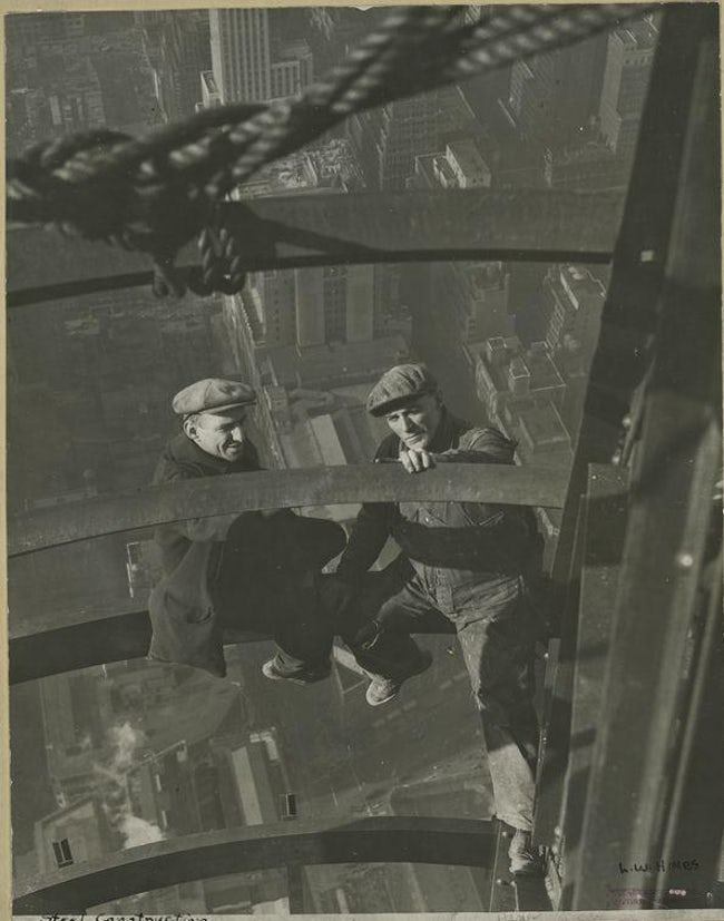 Two Workers Inspecting Steel Famous Empire State Building Workers Photo