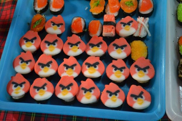 "If you like Angry Birds, you have to try this ""angry sushi"". Sushi Party Decoration Ideas"
