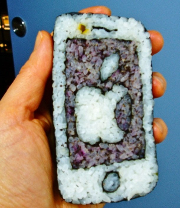 Check out this sushi iPhone! sushi garnish common