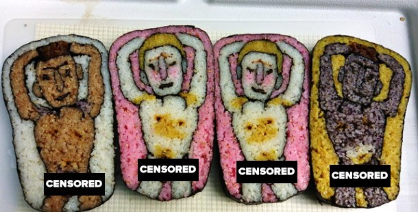 Slightly obscene sushi designs for ladies sushi plate decoration
