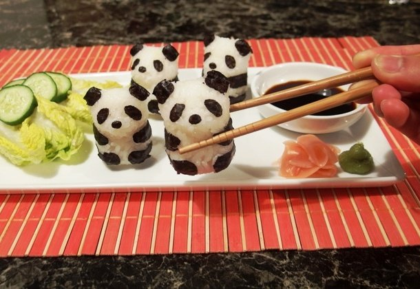 … and sushi pandas about to be eaten. sushi decoration ideas